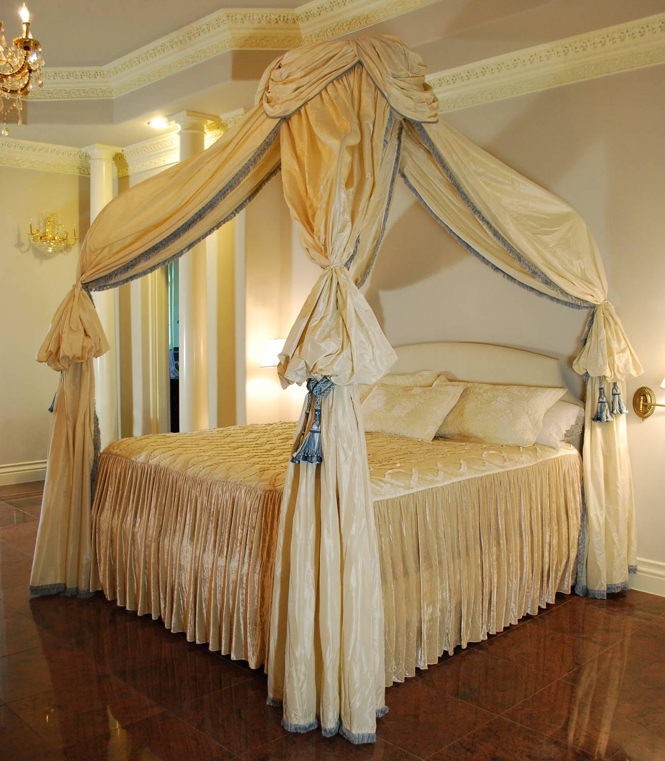 A sumptuous custom vintage canopy king bed with upholstered headboard and fine resent silk drapery. & Custom Canopy Bed King Size Frame Silk Drapery For Sale at 1stdibs
