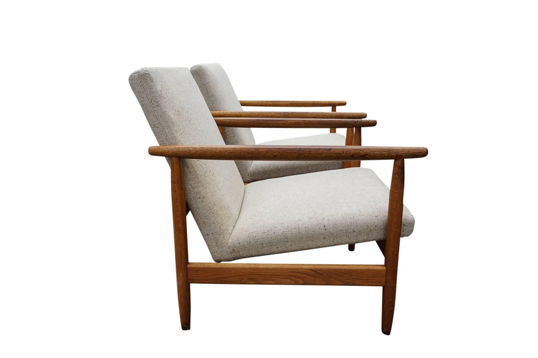 Attractive Pair Of Danish Mid Century Chairs Designed By Ejvind A. Johansson, Circa  1965
