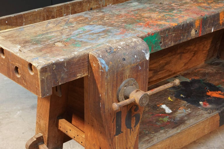 Mid-20th Century Primitive Work Bench from France, circa 1940 For Sale