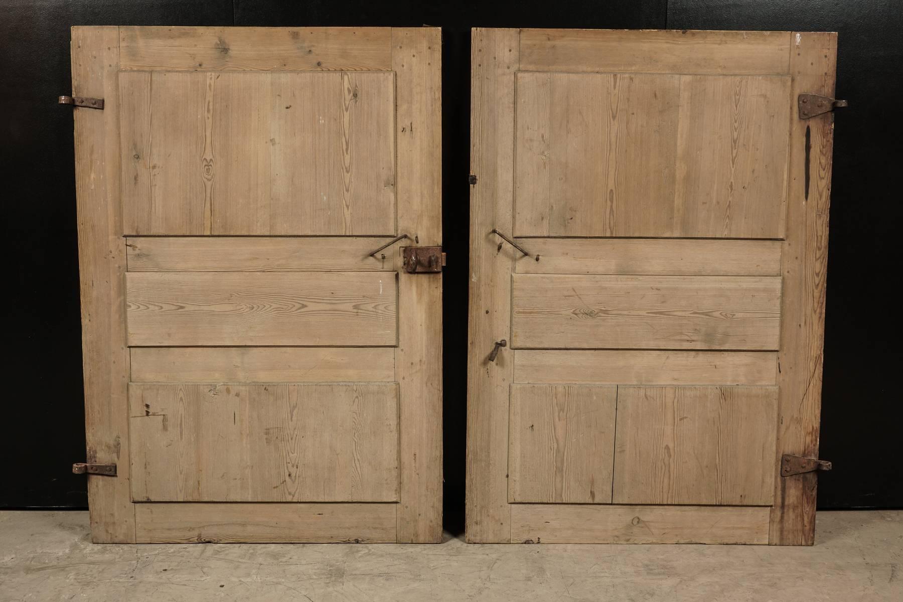 Pair of Primitive doors from Sweden circa 1820. Solid pine doors with original hardware & Pair of Primitive Doors from Sweden circa 1820 at 1stdibs