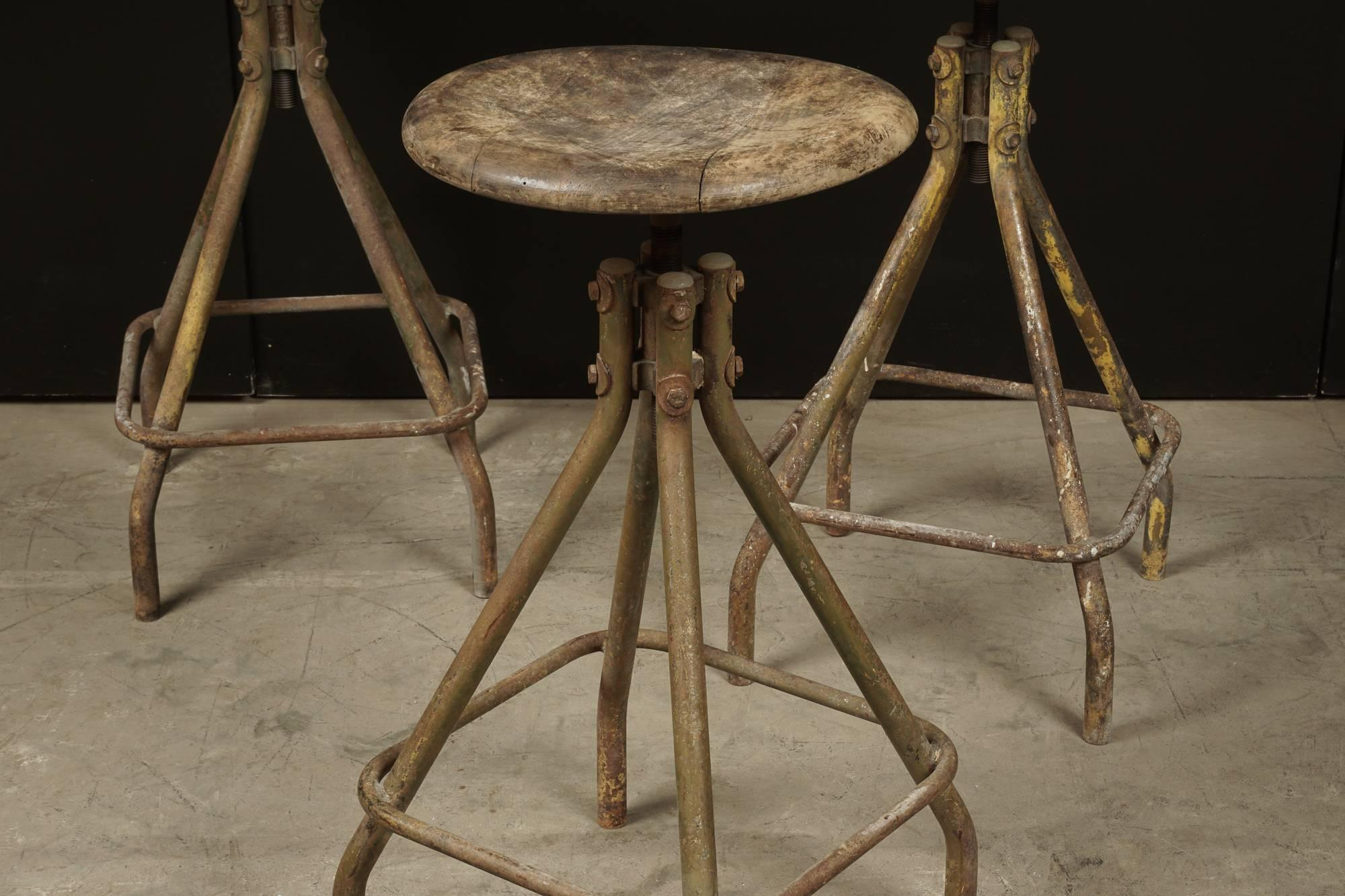 European Set Of Three Industrial Bar Stools From France, Circa 1940 For Sale