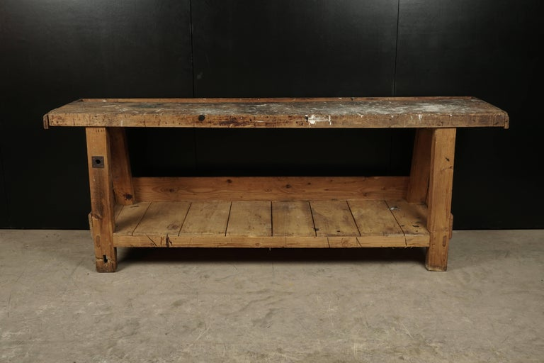 French Work Console, Circa 1940.  Nice original surface with wear.