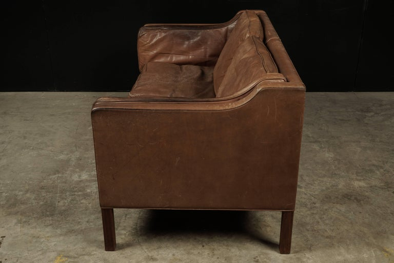 Late 20th Century Borge Mogensen Two-Seat Sofa in Brown Leather, Model 2213 For Sale