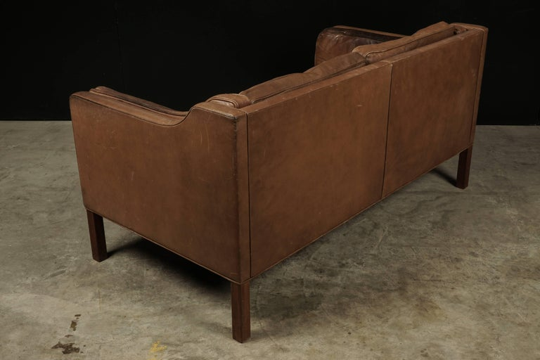 Borge Mogensen Two-Seat Sofa in Brown Leather, Model 2213 For Sale 1