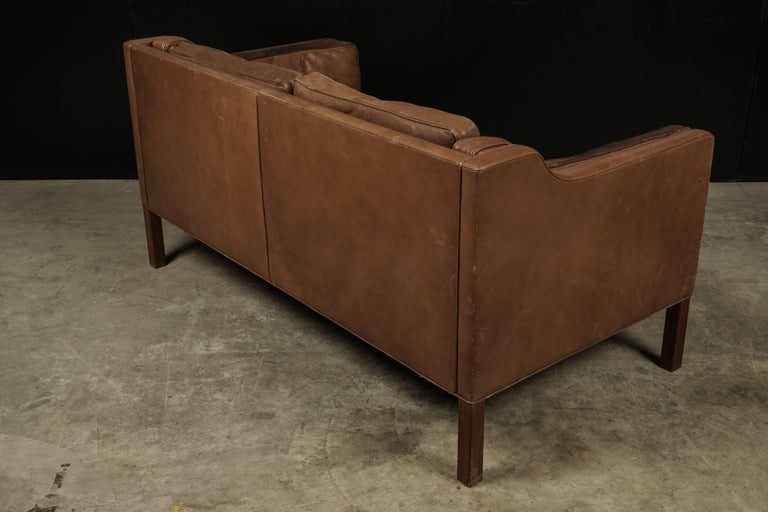 Borge Mogensen Two-Seat Sofa in Brown Leather, Model 2213 For Sale 2