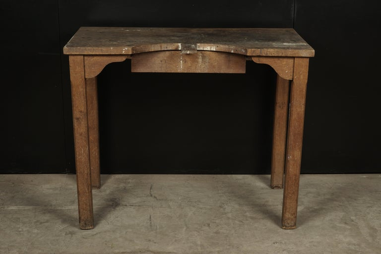 Rare jewelers table from France, circa 1940. Great color and patina on the top. One drawer.