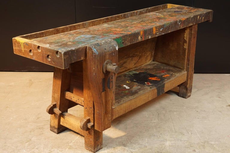 Primitive Work Bench from France, circa 1940 In Good Condition For Sale In Nashville, TN