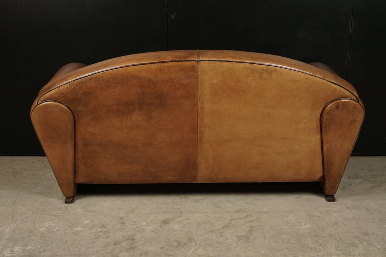 Rare Midcentury Leather Sofa From the Netherlands, circa 1970 In Good Condition For Sale In Nashville, TN