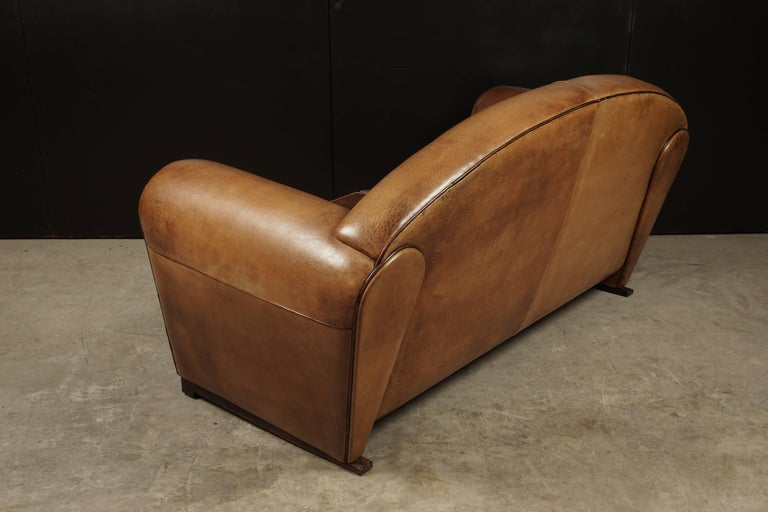 European Rare Midcentury Leather Sofa From the Netherlands, circa 1970 For Sale