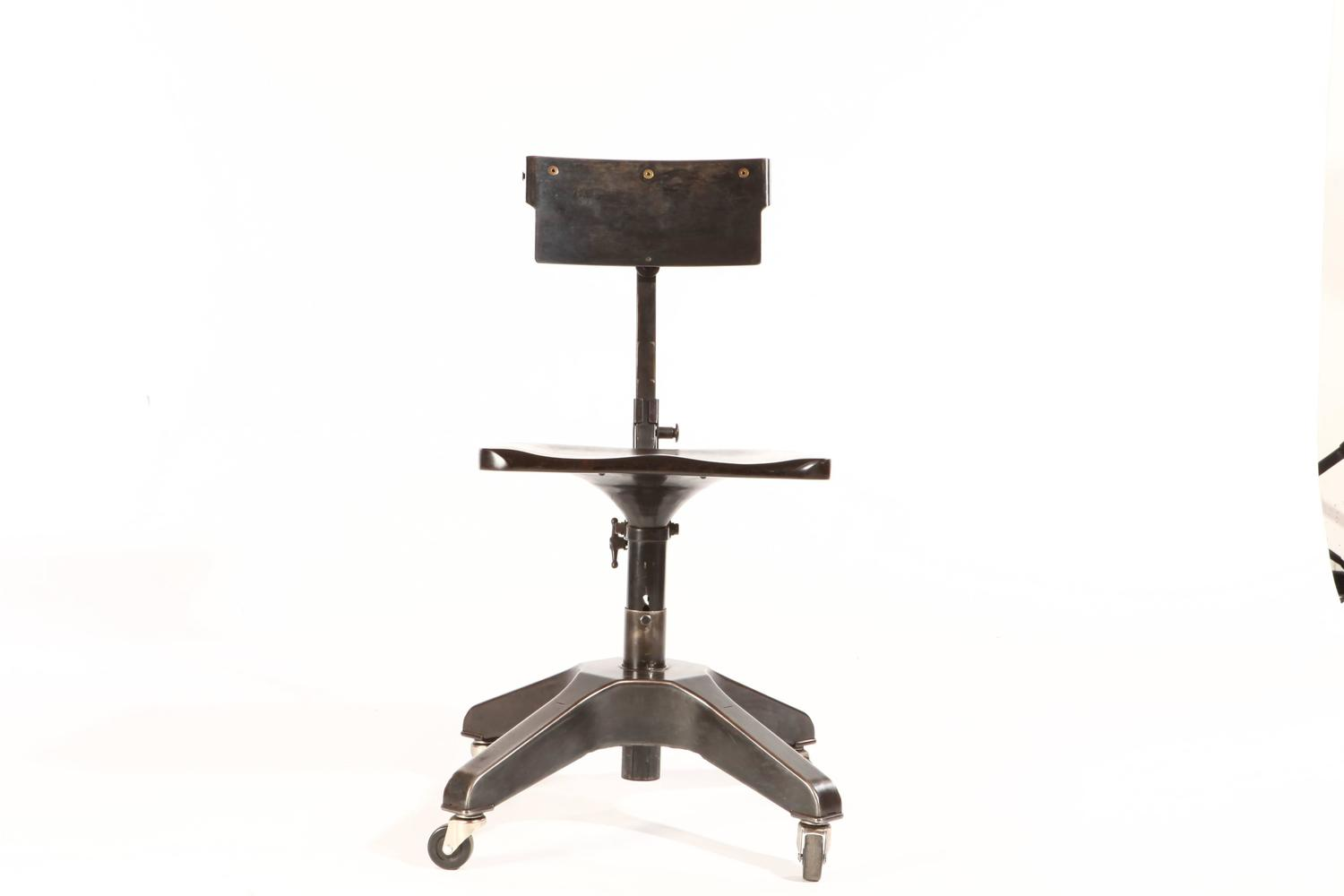 Vintage Patinated Desk Chair on Casters For Sale at 1stdibs