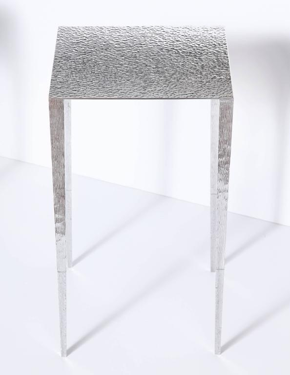 "American ""Upaya"" Contemporary Hand-Hammered Aluminum Side Table by Aurelien Gallet For Sale"