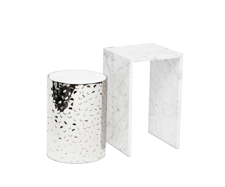 American BIAFO + AIALIK nesting tables - Hand-Hammered Stainless Steel + Marble  For Sale