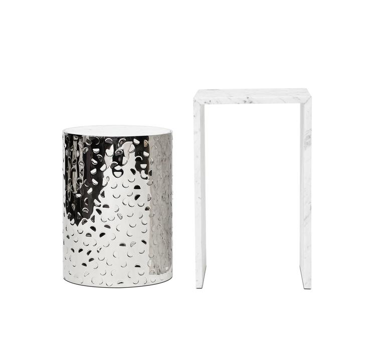 Fine contemporary table by Studio Gallet.  Hand-hammered polished stainless steel and textured Carrara iceberg marble. Limited edition of 50 pieces. Numbered and Signed. Custom size available within two weeks.  Each piece is handmade in