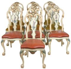 Set of Ten Italian Hand-Painted Chairs