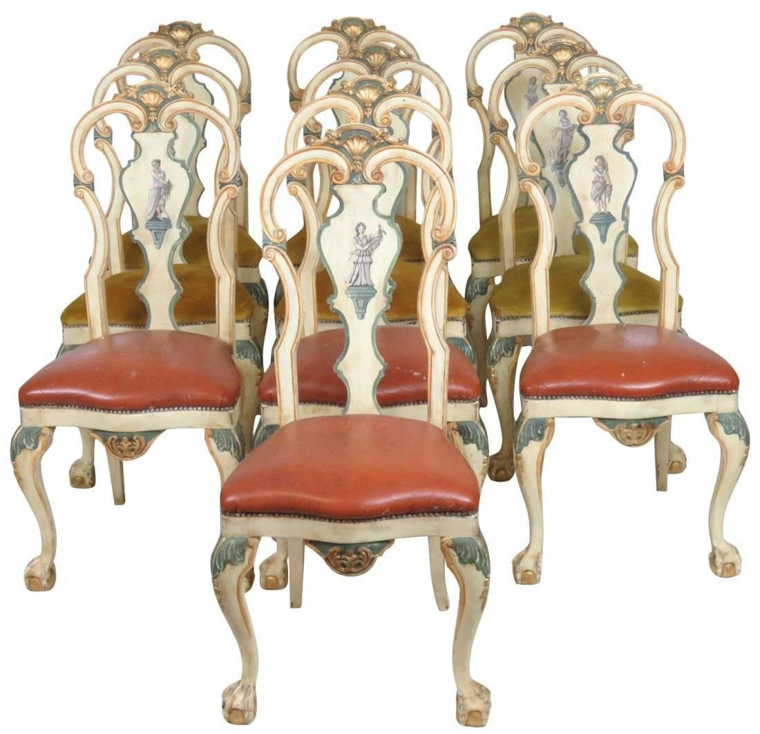 Set Of Ten Italian Hand Painted Chairs For Sale At 1stdibs