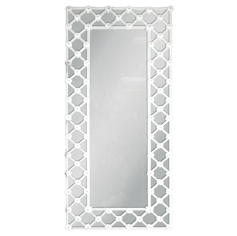 Venetian White Murano Glass Mirror