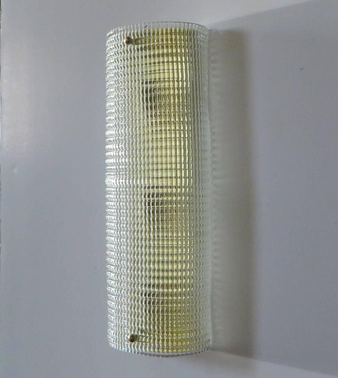 Textured Murano glass mounted on brass backplate Made in Italy in the 1970s 3 lights each / max 40W each