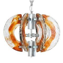 Italian Murano Amber Half Moon Glass Pendant by Mazzega