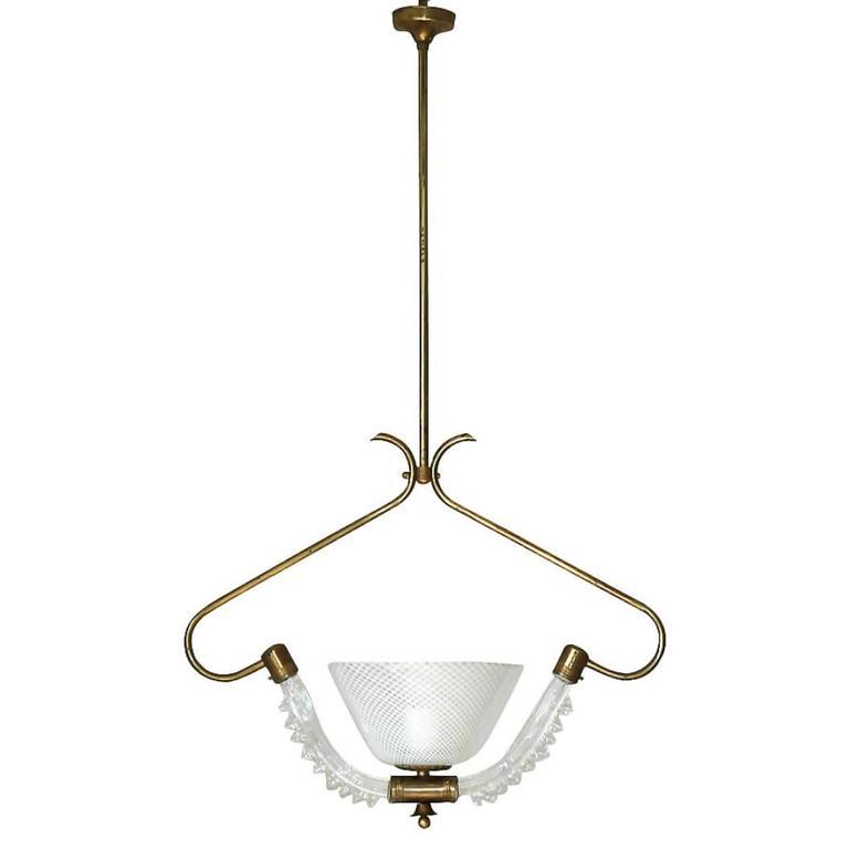Murano Glass Latticino Bell Pendant by Ercole Barovier