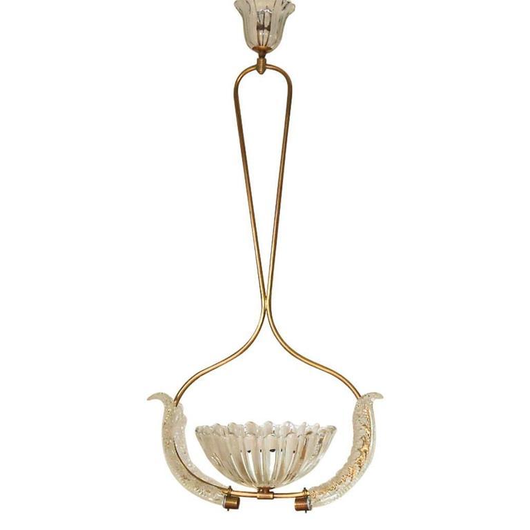 Murano Glass Scalloped Bell Pendant by Ercole Barovier