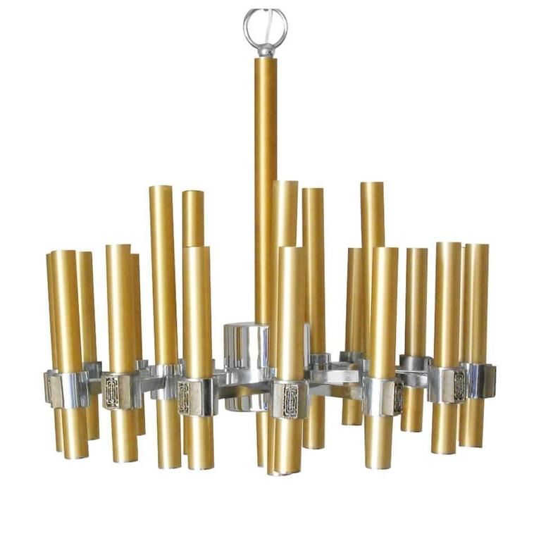 Brass and Chrome Tubes Chandelier by Sciolari