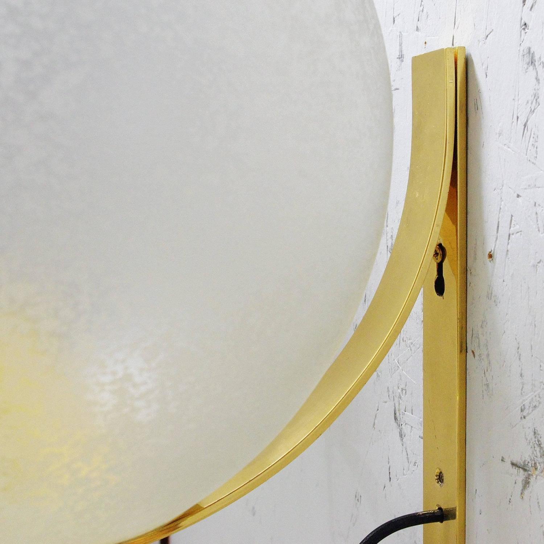 Italian Murano Acidato Glass Globe Sconces By Seguso For