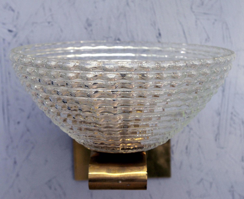 Set of four murano ribbed glass sconces by barovier e toso for Barovier e toso