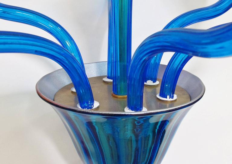 20th Century Monumental Italian Blue Murano Glass Chandeliers For Sale
