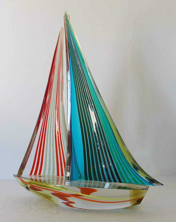Vintage multi-color Murano glass sailboat, by Alberto Dona. Signed