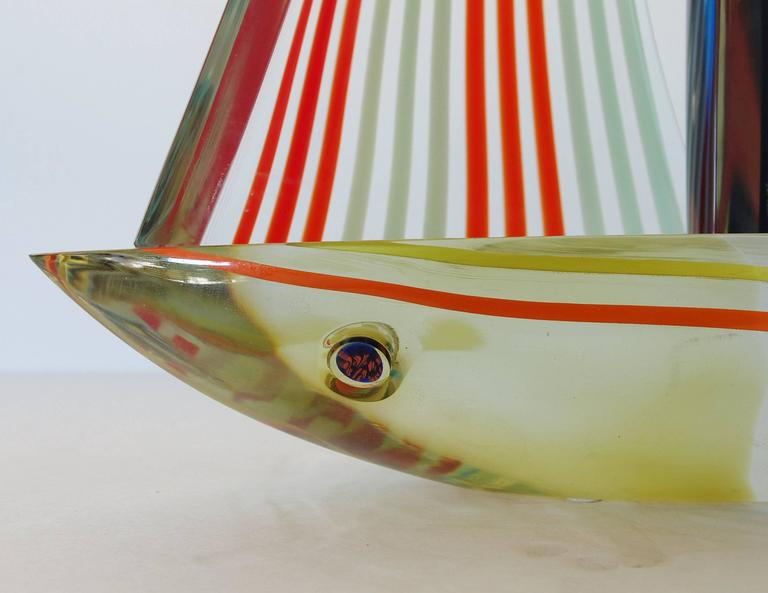 Murano Glass Sailboat Sculpture by Alberto Dona' For Sale