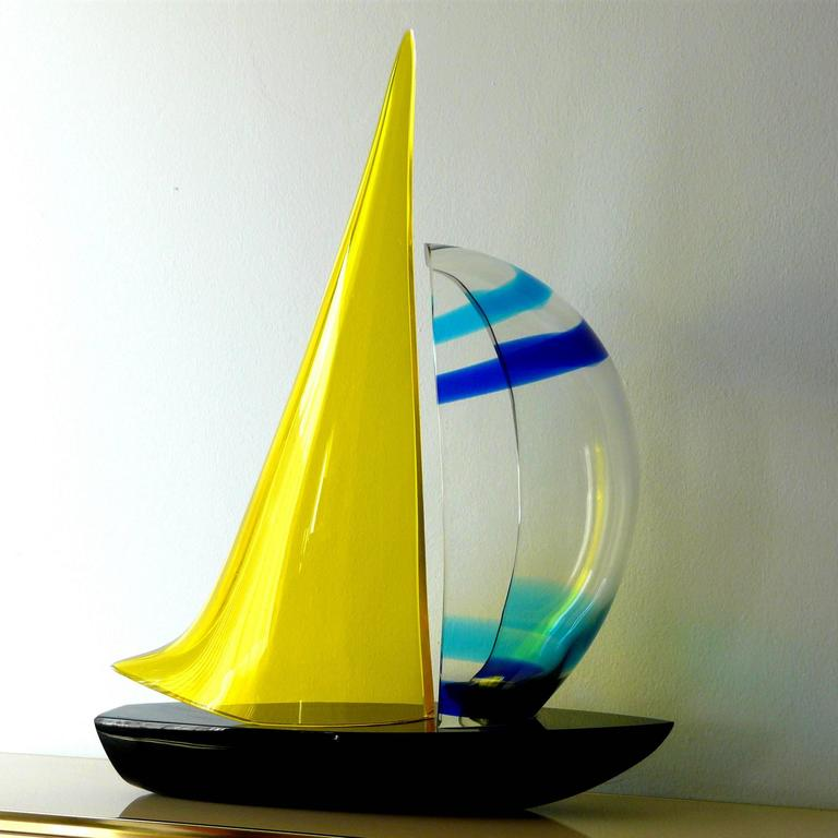 Murano Sailboat by Romano Dona' In Excellent Condition For Sale In Palm Springs, CA
