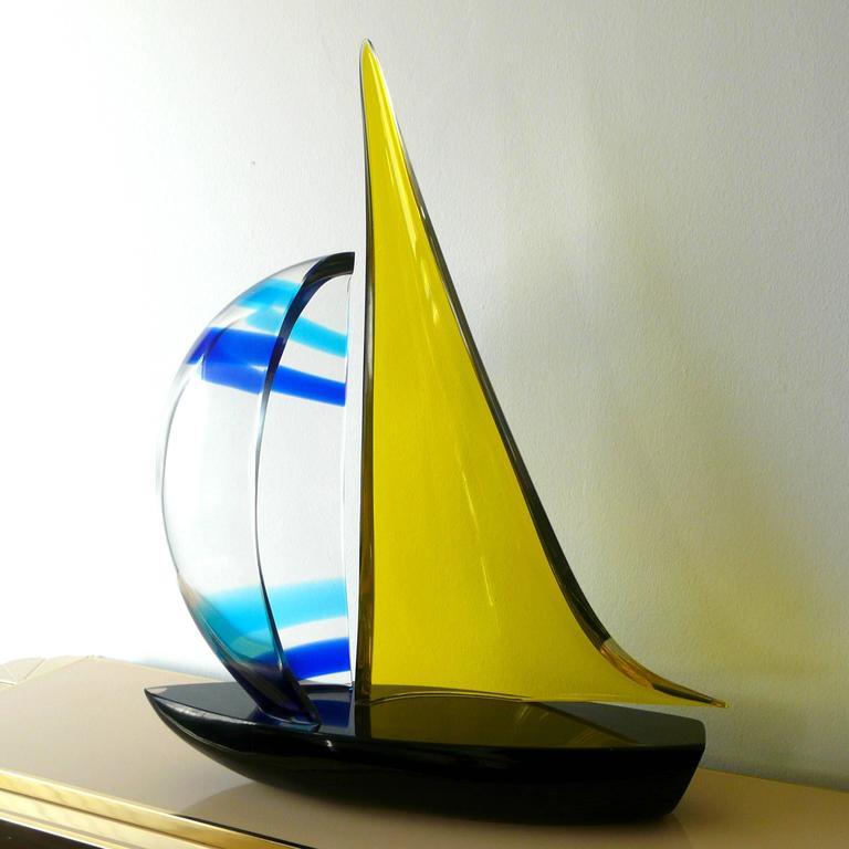 Late 20th Century Murano Sailboat by Romano Dona' For Sale