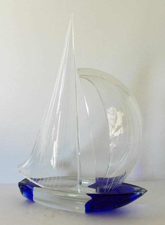 Vintage Italian sailboat made with hand blown blue and clear Murano glasses, by Alberto Dona. Signed