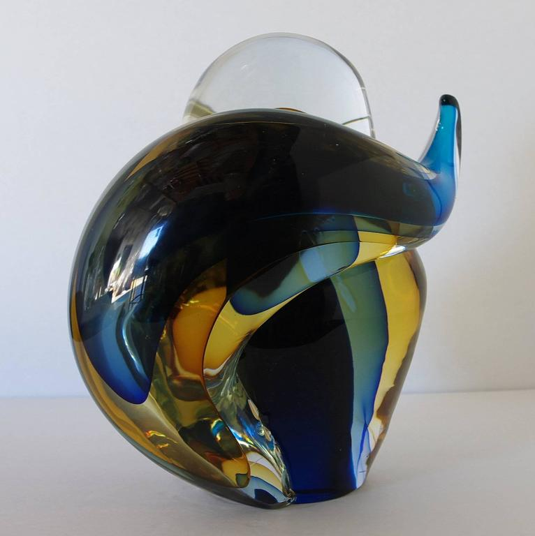 Mid-20th Century Murano Cat Sculpture Sommerso Glass by Romano Donà For Sale