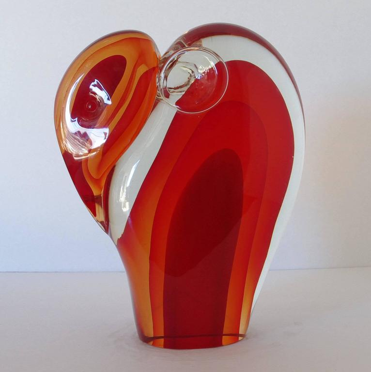 Italian Murano Elephant Sculpture Sommerso Glass by Romano Donà For Sale