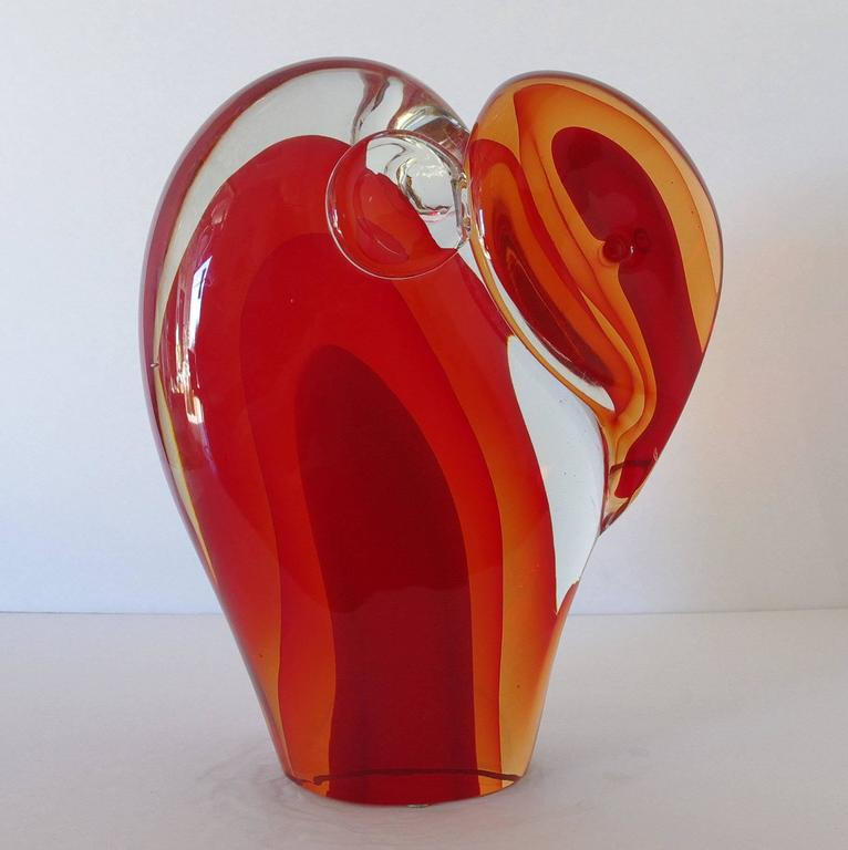 Murano Elephant Sculpture Sommerso Glass by Romano Donà In Excellent Condition For Sale In Palm Springs, CA