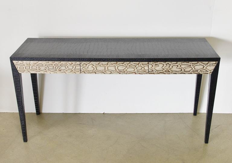 Modern Italian Leather And Snake Skin Console Table For Sale