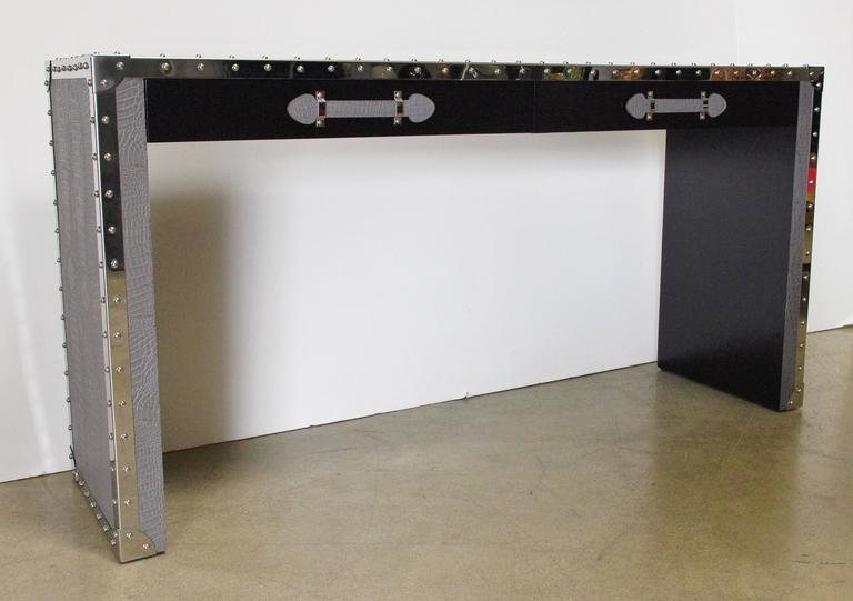 Gray Leather And Studded Stainless Steel Console Table For