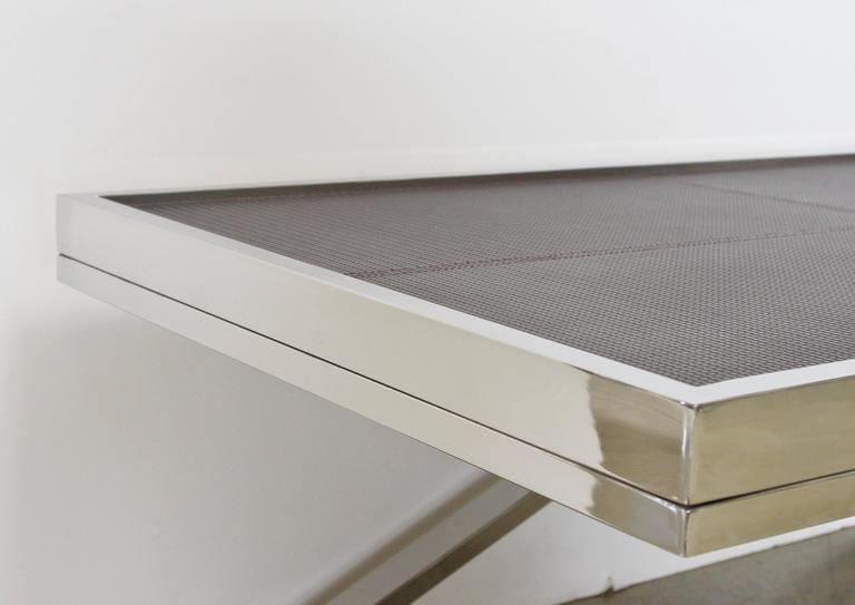 Pressed Dark Brown Leather and Stainless Steel Coffee Table by Fabio Ltd For Sale