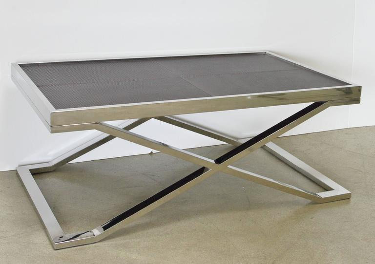 Modern Dark Brown Leather and Stainless Steel Coffee Table by Fabio Ltd For Sale
