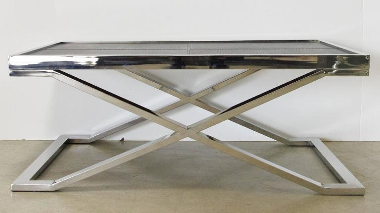 Stainless steel coffee table with pressed black leather designed by Fabio Bergomi / Made in Italy Depth: 24 inches / Width: 39.5 inches / Height: 16 inches  1 in stock in Palm Springs currently ON SALE for $1,799!!! Order Reference #: F125