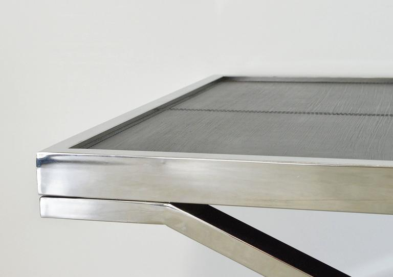 Pressed Black Leather and Stainless Steel Coffee Table by Fabio Ltd For Sale