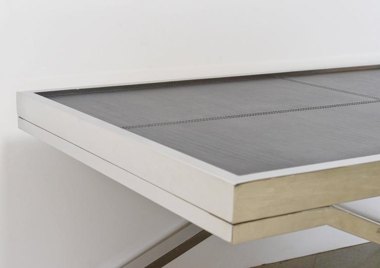 Black Leather and Stainless Steel Coffee Table by Fabio Ltd In Excellent Condition For Sale In Palm Springs, CA