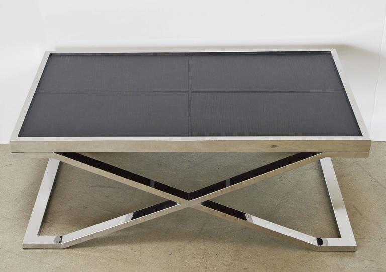 Modern Black Leather and Stainless Steel Coffee Table by Fabio Ltd For Sale