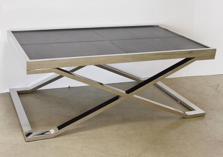Italian Black Leather and Stainless Steel Coffee Table by Fabio Ltd For Sale