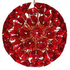 Italian Murano Red Glass Trumpets Sputnik Chandeliers by Vistosi