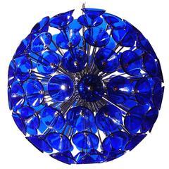 Italian Blue Murano Glass Trumpets Sputnik Chandelier by Vistosi