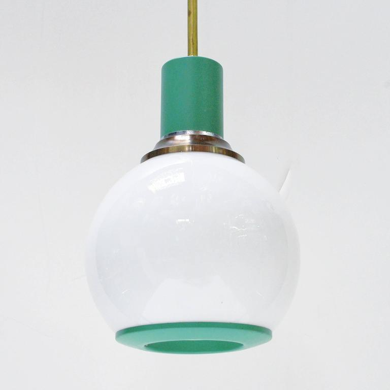 Italian Turquoise Metal and Frosted Glass Pendants by Stilnovo 2