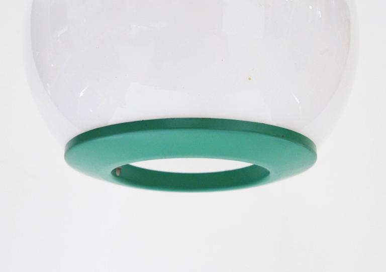 Italian Turquoise Metal and Frosted Glass Pendants by Stilnovo 4