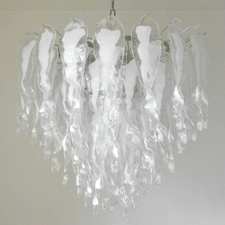 Italian Murano White Stalatitti Glass Chandelier by Mazzega For – White Murano Chandelier